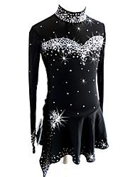 cheap -Figure Skating Dress Women's Girls' Ice Skating Dress Black Spandex Competition Skating Wear Sequin Long Sleeve Figure Skating