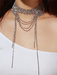 cheap -Women's Choker Necklace Long Necklace Layered Ladies Multi Layer Imitation Diamond Silver Necklace Jewelry For Party Gift
