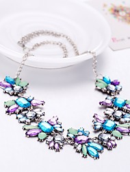 cheap -Women's Crystal Statement Necklace Flower Ladies Bohemian Oversized Boho Acrylic Resin Plastic Light Blue Necklace Jewelry For Party Evening Party