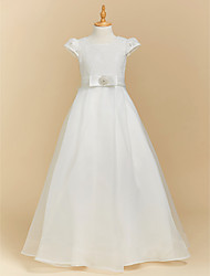 cheap -A-Line Floor Length Flower Girl Dress - Lace / Satin Short Sleeve Square Neck with Bow(s) / First Communion
