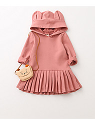 cheap -Toddler Girls' Simple Solid Colored Long Sleeve Dress Blushing Pink