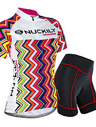 cheap -Nuckily Women's Short Sleeve Cycling Jersey with Shorts Camouflage Stripes Bike Shorts Jersey Clothing Suit Waterproof Breathable 3D Pad Reflective Strips Sweat-wicking Sports Polyester Spandex