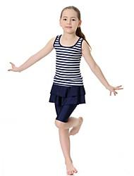 abordables -Enfants Fille Sports Rayé Sans Manches Maillot de Bain Rose Claire