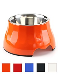 cheap -Cat Dog Outfits / Feeders Stainless Steel Food Grade Material Case Included Ergonomic Design Durable Solid Colored Orange Red Blue Bowls & Feeding
