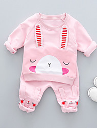 cheap -Baby Girls' Simple / Casual / Active Daily Print Long Sleeve Cotton Clothing Set Blushing Pink / Toddler
