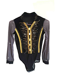 cheap -Figure Skating Top Men's Boys' Ice Skating Top Black Spandex Stretchy Competition Skating Wear Sequin Long Sleeve Figure Skating