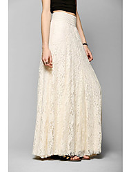 cheap -Women's Romantic Swing Skirts Solid Colored Lace White Beige / Maxi