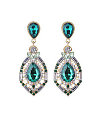 cheap -Women's Sapphire Crystal Drop Earrings Pear Cut Solitaire two stone Drop Ladies Fashion Crystal Imitation Diamond Earrings Jewelry Fuchsia / Green / Blue For Daily Going out