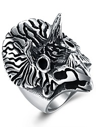 cheap -Men's Statement Ring Silver Stainless Steel Titanium Steel Rock Hip-Hop Oversized Party Bar Jewelry Parrot