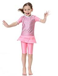 abordables -Enfants Fille simple Actif Sports Rayé Manches courtes Maillot de Bain Rose Claire