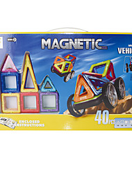 cheap -Magnetic Blocks Magnetic Tiles Building Blocks 40 pcs Architecture Vehicles Car Transformable Hand-made Classic Classic & Timeless Boys' Girls' Toy Gift