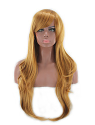 cheap -Synthetic Wig Curly Curly Asymmetrical With Bangs Wig Long Yellow Synthetic Hair Women's Natural Hairline Brown