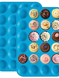 cheap -Muffin 24 Grid Cupcakes Silicone Cake Mold Mould Assorted Color