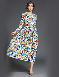 cheap -Women's Floral Maxi Rainbow Dress Street chic Fall Daily Work A Line Swing Print M L