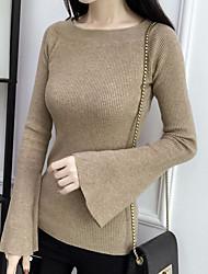 Недорогие -Жен. На каждый день Однотонный Длинный рукав Обычный Пуловер, Вырез лодочкой Осень / Зима Желтый / Винный / Хаки L / XL / XXL / Flare рукавом