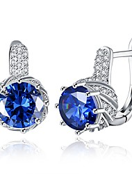 cheap -Women's Cubic Zirconia High End Crystal Clip on Earring Classic Fashion Zircon Silver Earrings Jewelry Purple / Blue For Wedding Daily