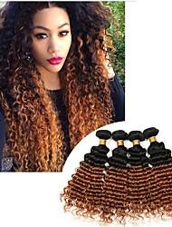 Недорогие -3 Связки Бразильские волосы Крупные кудри Не подвергавшиеся окрашиванию Человека ткет Волосы 8-24 дюймовый Ткет человеческих волос Без запаха Шелковистость Удлинитель Расширения человеческих волос