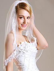 cheap -One-tier Lace Applique Edge / Veil Wedding Veil Fingertip Veils with Lace Lace / Tulle / Classic