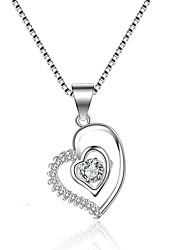 cheap -Women's Cubic Zirconia Pendant Necklace Heart Love Classic Vintage Fashion Zircon Silver Silver Necklace Jewelry One-piece Suit For Wedding Engagement
