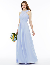 cheap -A-Line / Ball Gown V Neck / Cross Front Ankle Length Chiffon Bridesmaid Dress with Criss Cross / Pleats