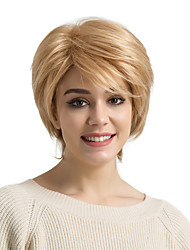 cheap -Human Hair Capless Wigs Human Hair Straight Pixie Cut / Layered Haircut / Short Hairstyles 2019 Side Part Short Machine Made Wig Women's