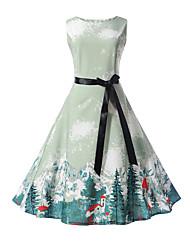 cheap -Kids Girls' Street chic Daily Going out Print Sleeveless Dress Light Blue / Cotton / Cute