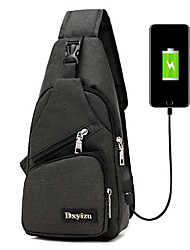 cheap -Men's Zipper Nylon Sling Shoulder Bag Black / Gray / Purple