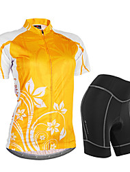 cheap -Nuckily Women's Short Sleeve Cycling Jersey with Shorts Orange Floral Botanical Bike Shorts Jersey Clothing Suit Waterproof Breathable 3D Pad Reflective Strips Sweat-wicking Sports Polyester Spandex