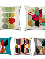 cheap -5 pcs Cotton / Linen Pillow Cover, Geometric Bohemian Style Retro