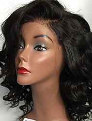 cheap -Virgin Human Hair Unprocessed Human Hair Glueless Lace Front Lace Front Wig Free Part style Brazilian Hair Wavy Wig 130% 150% 180% Density with Baby Hair African American Wig Bleached Knots Women's