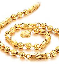 Недорогие -Муж. Ожерелья-цепочки Шарообразные Бат-цепь Камни Мода Хип-хоп Титановая сталь Позолота Титан Золотой Ожерелье Бижутерия Назначение Повседневные Для улицы