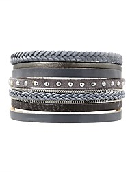 cheap -Women's Wrap Bracelet Leather Bracelet Ladies Simple Classic Vintage Leather Bracelet Jewelry Gray For Daily Going out