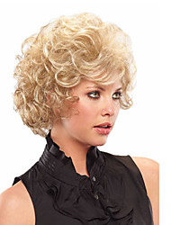 cheap -Synthetic Wig Curly Curly With Bangs Wig Blonde Short Blonde Synthetic Hair With Bangs Blonde