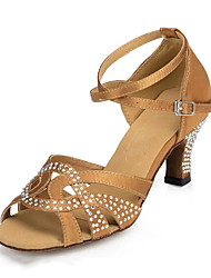 cheap -Dance Shoes Leatherette Latin Shoes Trim Sneaker Stiletto Heel Customizable Yellow / Brown