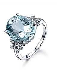 cheap -Women's Band Ring Cubic Zirconia High End Crystal 1pc Light Blue Zircon Silver Circle Geometric Ladies Vintage Basic Wedding Engagement Jewelry Solitaire Oval Cut