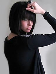 cheap -Human Hair Capless Wigs Human Hair Straight Bob / Short Hairstyles 2019 Natural Hairline Medium Length Machine Made Wig Women's