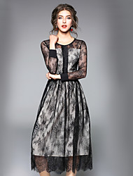 cheap -Women's Lace Black Dress Street chic Fall Daily Work A Line Swing Solid Colored Lace S M