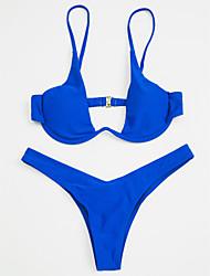 abordables -Femme A Bretelles Bleu Gris Vin Triangle Tanga Bikinis Maillots de Bain - Couleur Pleine Basique S M L Bleu / Sexy
