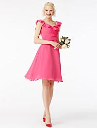 cheap -A-Line Square Neck Short / Mini Chiffon Bridesmaid Dress with Sash / Ribbon / Ruffles / Pleats / Petal Sleeve