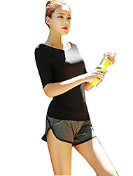 cheap -Women's Scoop Neck Running T-Shirt With Shorts Black Yoga Fitness Gym Workout Top Half Sleeve Sport Activewear Windproof Quick Dry Breathability