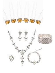 cheap -Women's Hair Sticks Bridal Jewelry Sets Dream Catcher European Fashion Imitation Pearl Imitation Diamond Earrings Jewelry White For Wedding Party