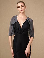 cheap -Half Sleeve Shrugs Chiffon Wedding / Party / Evening Women's Wrap With Cascading Ruffles
