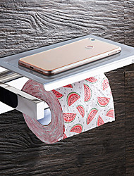 cheap -Toilet Paper Holders Modern Wall Mounted Stainless Steel Bathroom Shelf with Mobile Phone Storage Silver 1pc