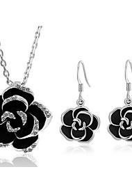 cheap -Women's Drop Earrings Necklace Flower Ladies Sweet Imitation Diamond Earrings Jewelry Silver For Daily