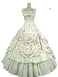 cheap -Sweet Lolita Rococo Victorian Costume Women's Dress Outfits White Vintage Cosplay Pure Cotton Sleeveless Cold Shoulder Ankle Length Long Length / Floral