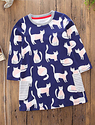 cheap -Toddler Girls' Casual Cartoon Daily Going out Striped Cat Long Sleeve Dress Royal Blue / Cute