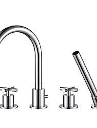 cheap -Bathtub Faucet - Contemporary Chrome Tub And Shower Brass Valve Bath Shower Mixer Taps / Two Handles Four Holes