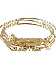 cheap -4pcs Women's Bracelet Bangles Stack Leaf Ladies Basic Fashion Alloy Bracelet Jewelry Gold For Daily Date