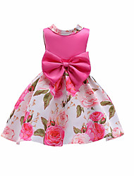 cheap -Girls' Casual Christmas Birthday Floral Color Block Sleeveless Dress Red / Cotton / Cute