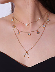 cheap -Women's Pendant Necklace Layered Moon double horn Ladies Fashion Multi Layer Imitation Pearl Alloy Gold Silver Necklace Jewelry For Party Date